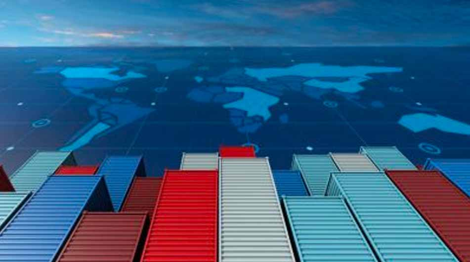 Containers on globe